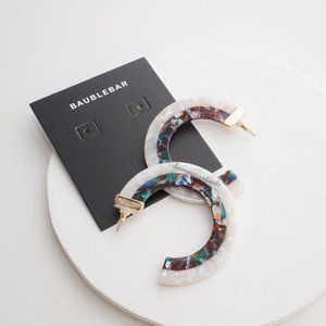 Anthro BaubleBar Deisy Resin Hoop Earrings Ivory